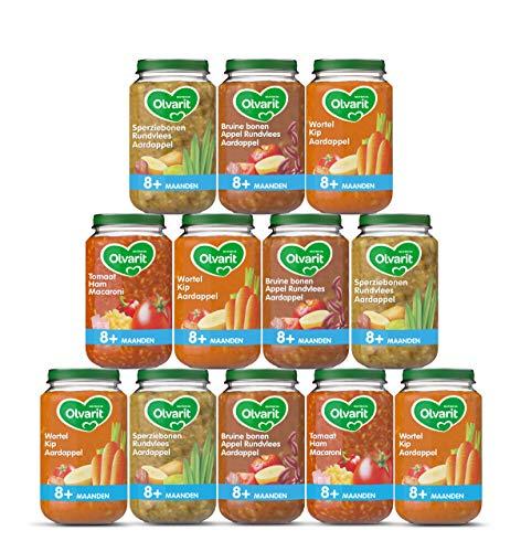 Olvarit Variatiemenu Maaltijd - babyhapje voor babys vanaf 8+ maanden - 4 verschillende smaken babyvoeding - 12 maaltijdpotjes van 200 gram