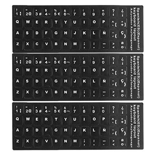 Baoblaze Universal Película de Protección de Piel de Teclado Letras Blancas Españolas para Laptop PC Accesorios - 3pcs