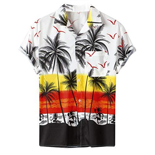 Heren Casual Shirt, Hawaii Stijl Kokosnoot Boom Print Pullover Korte Mouw Basic Tee Lapel Vrije tijd Zomer Herfst Top Katoen Ademende Sport Sweatshirt Mode Plus Size Losse Klassieke Blouse