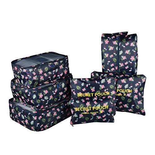 Set di 7 Organizer Valigie per Viaggio, TOYESS Impermeabile Leggero Set Organizzatore Valigia da Viaggio, 3 Cubi per Imballaggio + 3 Buste + 1 Borsa per Scarpe, Fenicottero