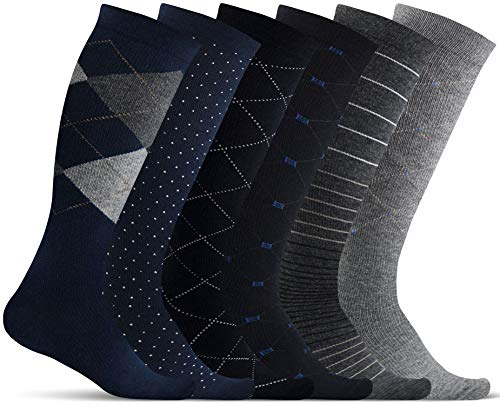 Men's Compression Socks (6-Pack) – L/XL – Multicolored - Graduated Muscle Support, Relief and Recovery. Great for Running, Medical, Athletic, Diabetic, Travel, Nursing (8-15 mmHg)
