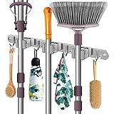MerryBIY Portascope da Muro con 3 Clip e 4 Ganci Supporto per Scopa in 304 Acciaio Inossidabil Per Cucina, Bagno, Garage, Giardino, Casa (Grigio)