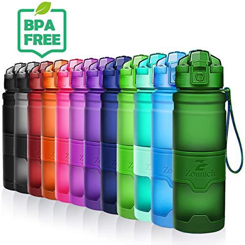 ZOUNICH Trinkflasche Sport BPA frei Kunststoff Sporttrinkflaschen für Kinder Schule, Joggen, Fahrrad, öffnen mit Einer Hand Trinkflaschen Filter, Dunkelgrün, 25oz/700ml