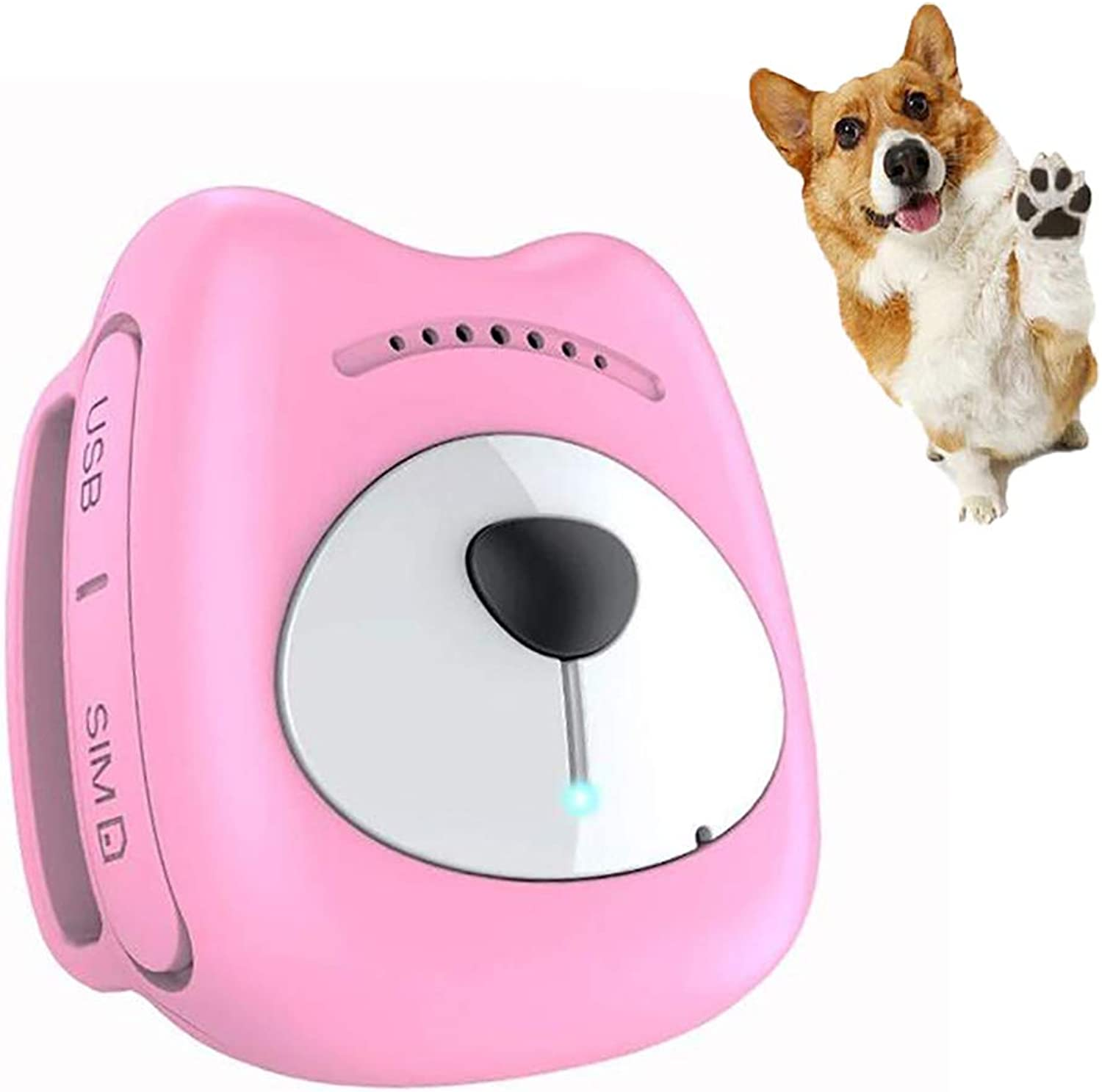 FXQIN Waterproof Cats Dogs GPS Tracker, Real Time Pet Locator, Unlimited Range & Geofence & AntiLost Dogs Collar, Rechargeable (Pink)
