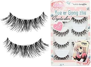 GXOK 5 Pairs Long False Eyelashes, Fake Eyelashes Handmade Dramatic Thick Crossed Cluster False Eyelashes Black Nature Fluffy Long Soft Reusable