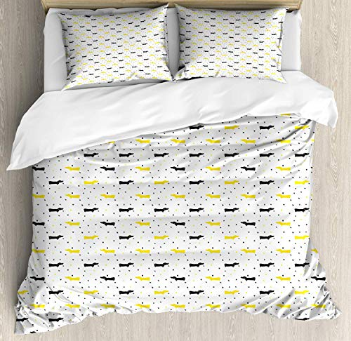 Dachshund 4pc Duvet Cover Flat Sheet and 2 Pillow Shams Bedding Set for Adult/Kids/Children/Teens, Twin Sketchy Painted Pattern with Bicolour Sausage Dogs and Little Hearts, Black Mustard and White