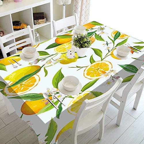 XXDD Elegante Mantel de Acuarela con patrón de limón, Mantel de Hoja de limón Tropical, Impermeable, Rectangular, decoración del hogar A7 135x200cm