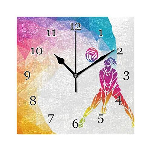 Reloj de Pared de Voleibol Deportivo Abstracto para Mujer, Reloj de Pintura de Arte Cuadrado silencioso sin tictac para decoración del hogar, Oficina y Escuela