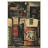 JLFDHR Estados Unidos Route 66 Gasolinera Carteles Impresos Lienzo Pintura Sala De Estar Estudio Bar Cafe Decor-50X70Cmx1 Sin Marco