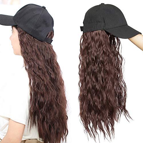 TESS Extensions wie Echthaar Weinrot Haarteile mit Schwarz Baseball Cap Lang Corn Wave Synthetische Haare für Damen komplette Haarverlängerung günstig 18