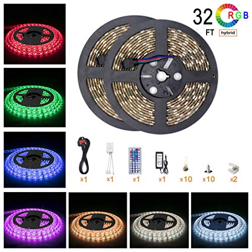 5050 LED Strip kit 600 Leds Light Flexible Waterproof 32.8ft 10m RGB Color Changing with 44key IR controller and 6A power supply For Kitchen Mirror ristmas Kitchen Wall Mirror Home Decoration Lighting