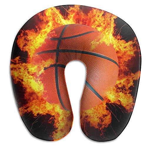 Almohada de cuello negro Burnning Fire Basketball - Almohada de espuma con memoria súper acogedora en forma de U, cuello lavable Soporte de almohadilla para la cabeza de la barbilla con respiración