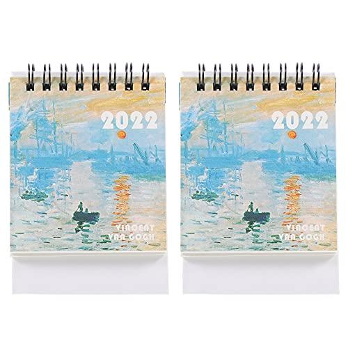cabilock 2022 Calendario de Escritorio Mini 2021-2022 Calendario de Pie Plegable Calendario Diario Planificador Decorativo Alambre- Encuadernado Calendario de Papel para La Oficina en Casa