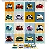 TIZORAX Cool Cars Bad Duschvorhang Set mit rutschfesten Badteppichen Bodenmatte Home Decoration