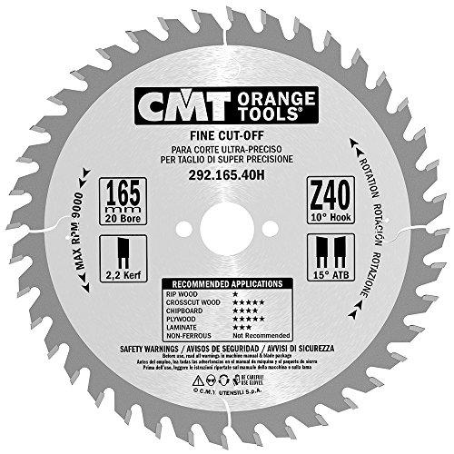 CMT Orange Tools Kreissägeblatt Feinschnitt HW 165 x 2,2 / 1,6 x 20 Z=40 15° ATB - 292.165.40H - für Querschnitte