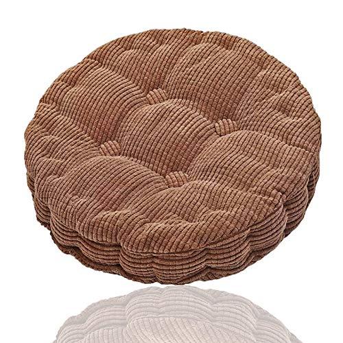 Generisch Cojín redondo para silla, cojín para silla colgante, cojín suave, asiento cómodo, yoga, meditación para el hogar, cocina, comedor, oficina, 45 x 45 cm (marrón)