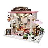Lepeuxi Dollhouse Miniatura DIY Mini Kit de casa con Luces LED y Muebles para Set de Regalo