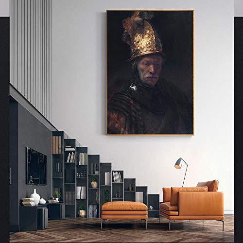 Canvas schilderij Rembrandt 《De man met de gouden helm》 Kunstwerk Poster Foto Modern Wall Art decor Woondecoratie 60x80cm frameloos