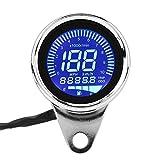 Velocímetro de la motocicleta-Retro Chrome Motocicleta universal LED digital Velocímetro LCD Tacómetro Medidor de velocidad