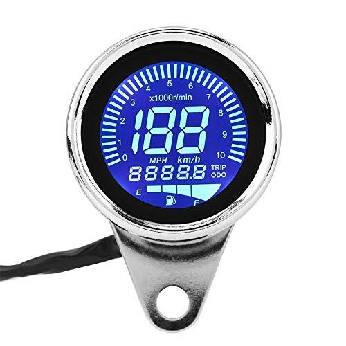 Velocímetro LCD - Universal Moto Digital LED LCD Velocímetro Tacómetro Indicador de Velocidad Retro Chrome