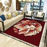 Alfombra Moderna para Salón, Flor Creativa Amarilla Roja, Alfombra De Salón Moderna, Alfombras Mullidas de Interior Súper Suaves y Mullidas para Salón Dormitorio, 160 x 230 cm