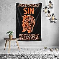 タペストリー Fashioble Sin The World Inferno Friendship Society おしゃれ 布製壁掛け 部屋 寮 ホームステイ窓 壁 装飾用品 多機能 ブランケットカーテン ビーチタオル インテリア,(60x40inch/150x100cm)