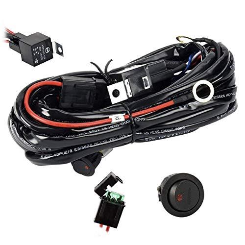 Eyourlife Kabelbaum Kabelsatz Relais Adapter für KFZ Scheinwerfer Arbeitsscheinwerfer Tagfahrleuchten Lichtleisten 12V/40A (für 1 Lampe max. 300W)