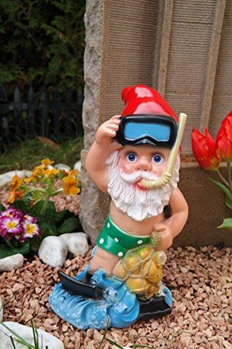Gartenzwerg Taucher aus bruchfestem PVC Zwerg Made in Germany Figur Karotte Spaten - 3