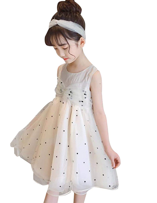 [ジンニュウ] 子供 ワンピース ノースリーブ 女の子 チュールワンピース キッズ ドレス 通園 通学 可愛い 結婚式 夏服 レースワンピース プリンセスドレス 120-160cm