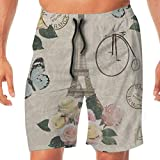 AZXGGV Men's Beach Pants Vintage Eiffel Tower Floral Paris Butterfly Quick Dry Casual Athletic Water Pants,Breathable Quick-Drying Swim Trunks Beach Shorts Board Shorts M