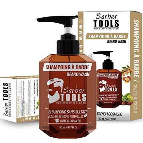Champú sin sulfato para la barba - 150ml basado en Aceite de Argan y Aceite de Jojoba | Para el mantenimiento y cuidado de la barba - MADE IN FRANCE  BARBER TOOLS