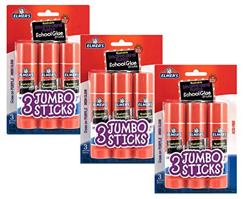 Elmers E579 Jumbo Disappearing Purple School Glue Stick, 1.4 Ounce, 5 Packs of 3 Sticks, 15 Sticks Total (9 Count - Jumbo)