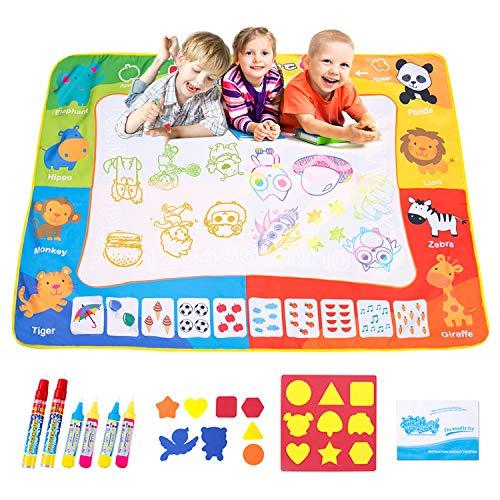 OMEW Tapis bébé 120*90 Tapis Dessin Eau Peinture Magic Mats Timbres et Livret de Dessin pour Enfants Garçons Filles