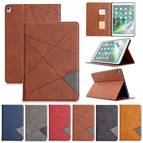 JIANWU Cover, Vertical Prismatic Tablet Case Suitable for IPAD PRO 10.2 10.5 2017/2019 Case. Advanced PU Leather Case With Automatic Wake-up/sleep Function [with Card Slot] (Color : Brown)