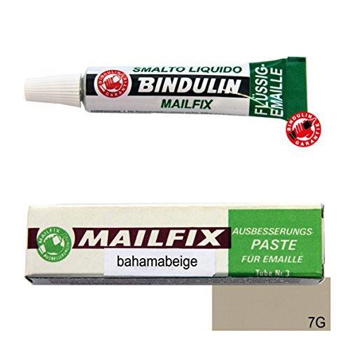 Mailfix von Bindulin 7g Farbe: Bahama Beige - Ausbesserungspaste flüssiger Kunststoff zum Ausbessern von Emaille & Porzellan beseitigt Schadstellen -7 Gramm, Farbe Bahamabeige