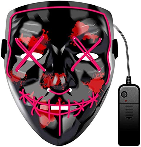 JCT Halloween LED Máscaras Purga Grimace Mask Horror Mask Scary LED Ilumina Máscaras para Halloween, Fiestas de Disfraces, Mascaradas, Carnavales, Regalos For Adultos Infantiles (Rosa)