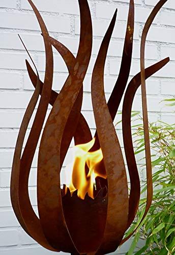 Feuerblume auf Stab Edelrost Blume Design Fackel Garten Dekoration Windlicht Gartenstecker Kerzenhalter