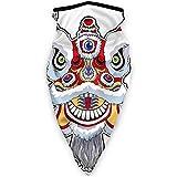 Chinese Lion Dance Mask Sports Windproof Bandana Face Mask Neck Gaiter Headband, Balaclava Black