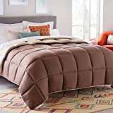 LINENSPA All-Season Reversible Down Alternative Quilted Comforter - Corner Duvet Tabs - Hypoallergenic - Plush Microfiber Fill - Box Stitched - Machine Washable - Sand / Mocha - Queen