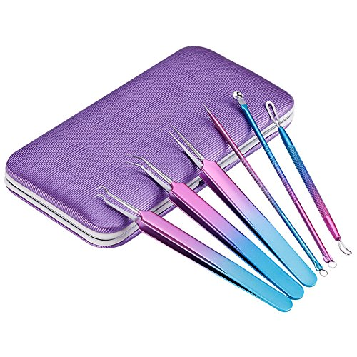 Blackhead Extractor Tool Kit Ensemble d'outils d'extraction de points noirs Violet Acier inoxydable Aiguille d'acné Pince à épiler Nettoyant visage be