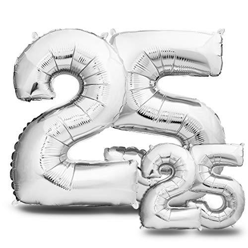 Globos de Cumpleãnos 25 Plateado - 101 CM + 40 CM Globos 25 Años - Globos Numero 25 - Decoracion 25 Cumpleaños Mujer Hombre - Globos Numeros Gigantes Para Fiestas - Vuelan con Helio