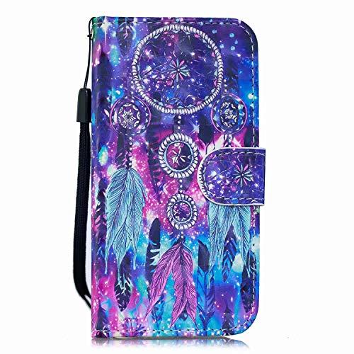 Veapero Kompatibel für Samsung Galaxy S20 Plus Handyhülle Schutzhülle Hülle Leder Wallet Case Tasche PU Handyschale Brieftasche Flipcase Kartenfach Stand Magnetische,Capteur De Rêves En Plumes