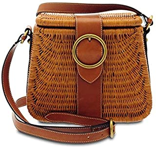 GIUDI ® - Borsa Donna in rattan, tracolla, Made in Italy. (Marrone)
