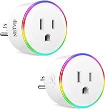 WiFi Smart Plug سازگار با Amazon Alexa Google IFTTT برای کنترل صدا ، مینی سوکت بی سیم با نور RGB ، کنترل از راه دور لوازم خانگی شما از هر کجا ، ETL و FCC مجاز
