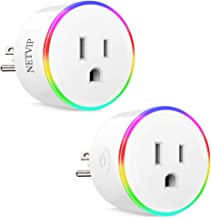 WiFi Smart Plug Compatible with Amazon Alexa Google Home IFTTT for Voice Control, Wireless Mini Socket with RGB light, Remote Control Your Home Appliances from Anywhere, ETL and FCC Certified