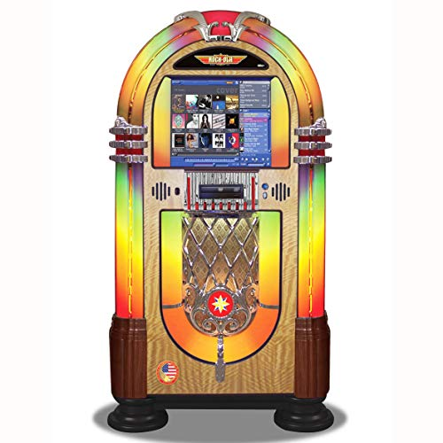 Learn More About Rock-Ola | Full Size Bubbler CD Jukebox with Bluetooth | Walnut Edition
