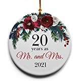 20 Years as Mr. and Mrs. Ceramic Christmas Tree Ornament Collectible Holiday Keepsake 2.875' Round Ornament in Decorative Gift Box with Bow- Perfect 20th Wedding