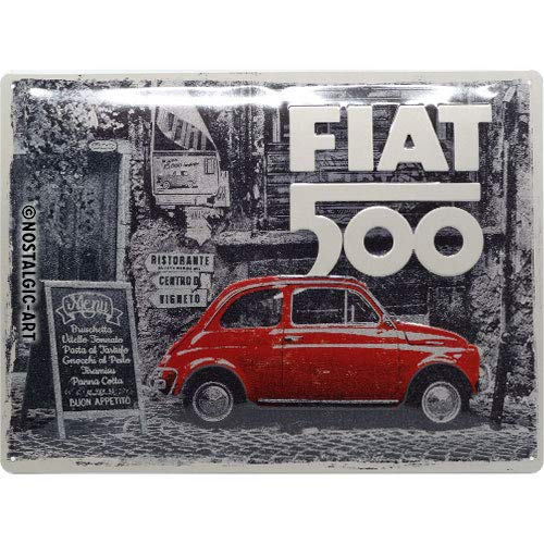 Nostalgic-Art 23295 - Fiat 500 - Red car in the street, metalen bord 30 x 40 cm