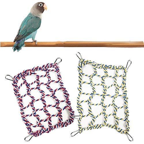 Red de cuerda de escalada para mascotas, 2 piezas, hamaca colgante de cuerda de escalada para pájaros, red de cuerda de algodón para hámsteres..