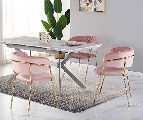 Conjunto de comedor de diseño – Mesa de comedor con aspecto de mármol blanco + 4 sillas rosas – Estilo contemporáneo – Mesa extensible